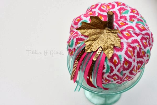 Make a tacky dollar store pumpkin fabulous using fabric scraps! www.pitterandglink.com