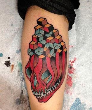 Tatuagens masculinas de caveiras no braço