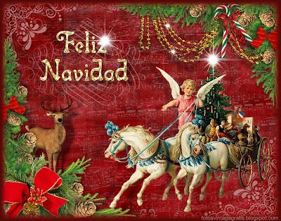 navidad vintage carro con ángel y ciervo
