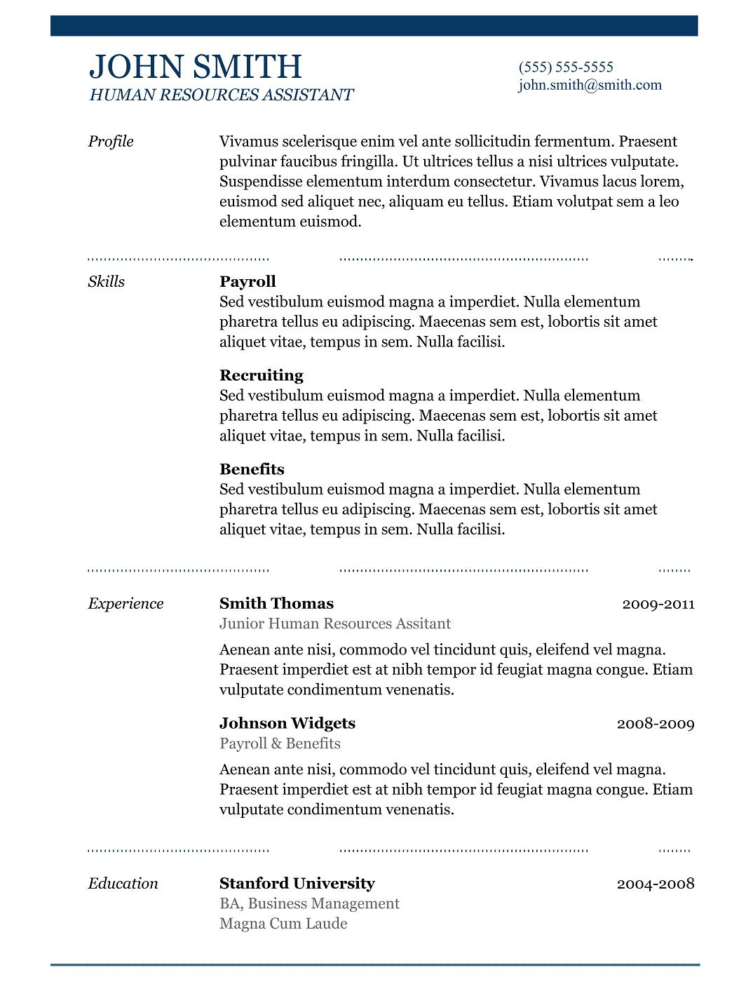5 best samples resume objective examples samples of cv for Reseume template