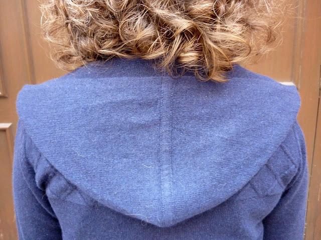 Hood of Long Line Cashmere Cardigan | Petite Silver Vixen