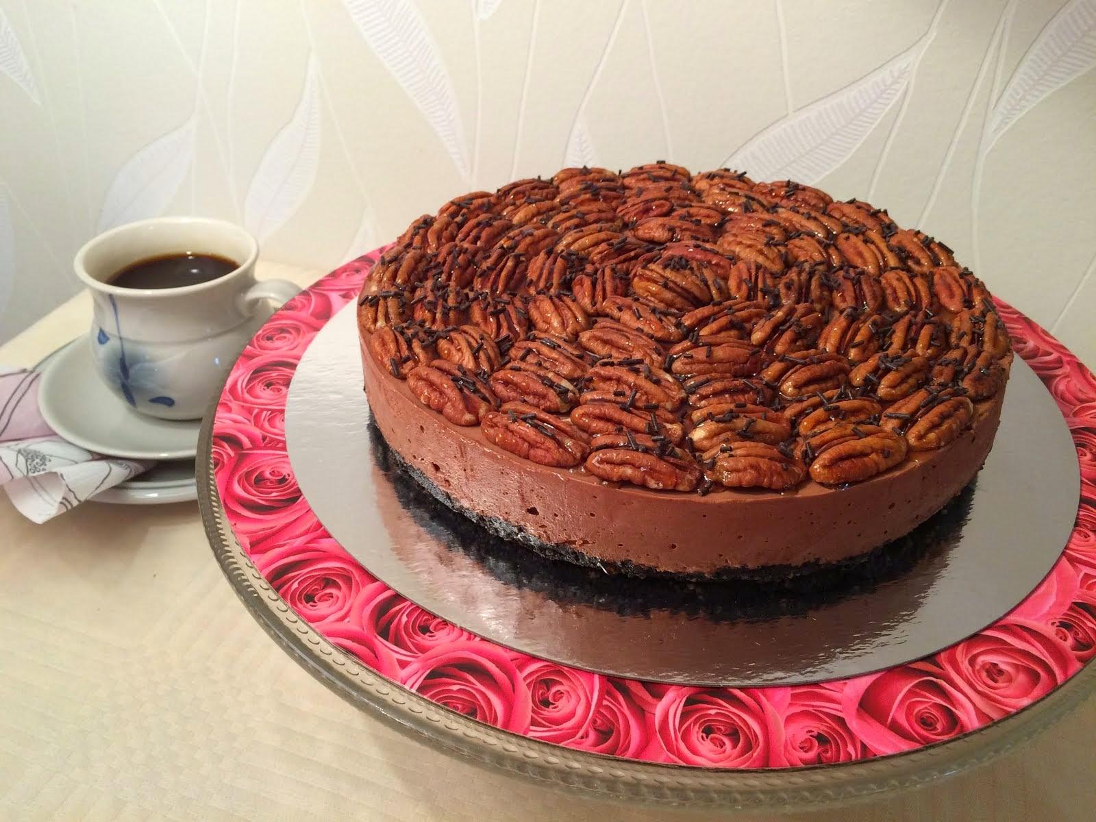 Pekaani-suklaajuustokakku (gluteeniton)