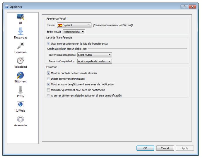 Painel de configuraciones de qTorrent. el Cliente BitTorrent fácil de usar con multitud de opciones