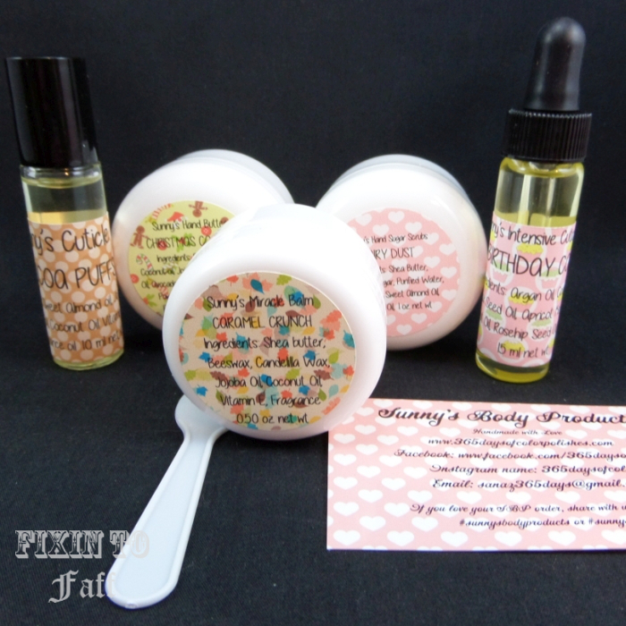 Review of Sunny's Body Products sampler pack with cuticle oil, miracle balm, hand butter, and sugar scrub.