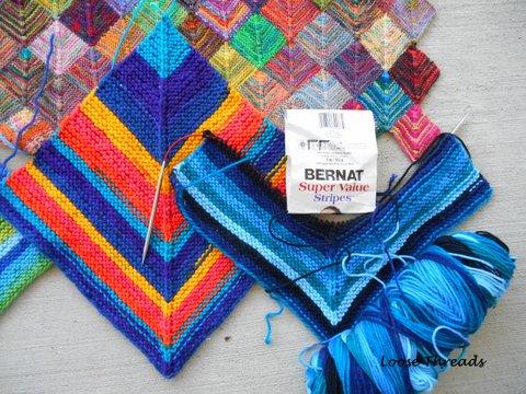 Loose Threads: Big Knit Mitered Square Blanket