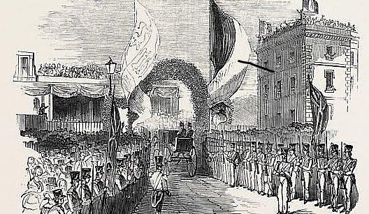 Queen Victoria and Louis Phillipe enter Gosport station