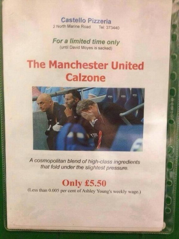 Pizza restaurant adds mocking 'Manchester United Calzone' to its menu
