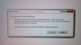 sticky or filter keys message from windows after holding down shift button