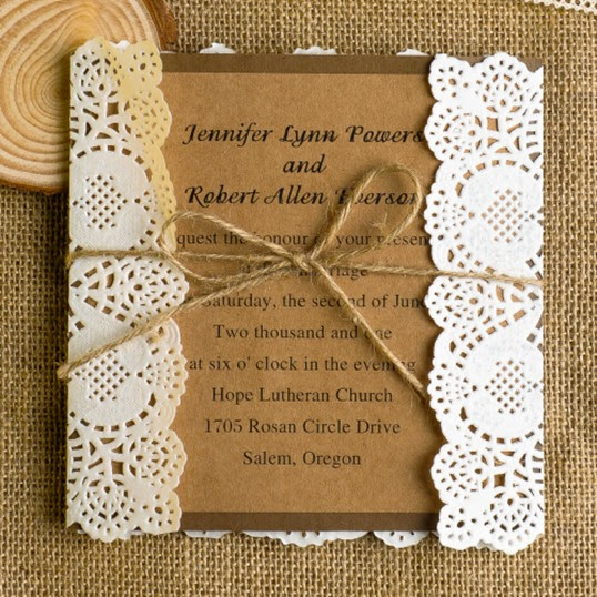 lassic lace rustic wedding invitations