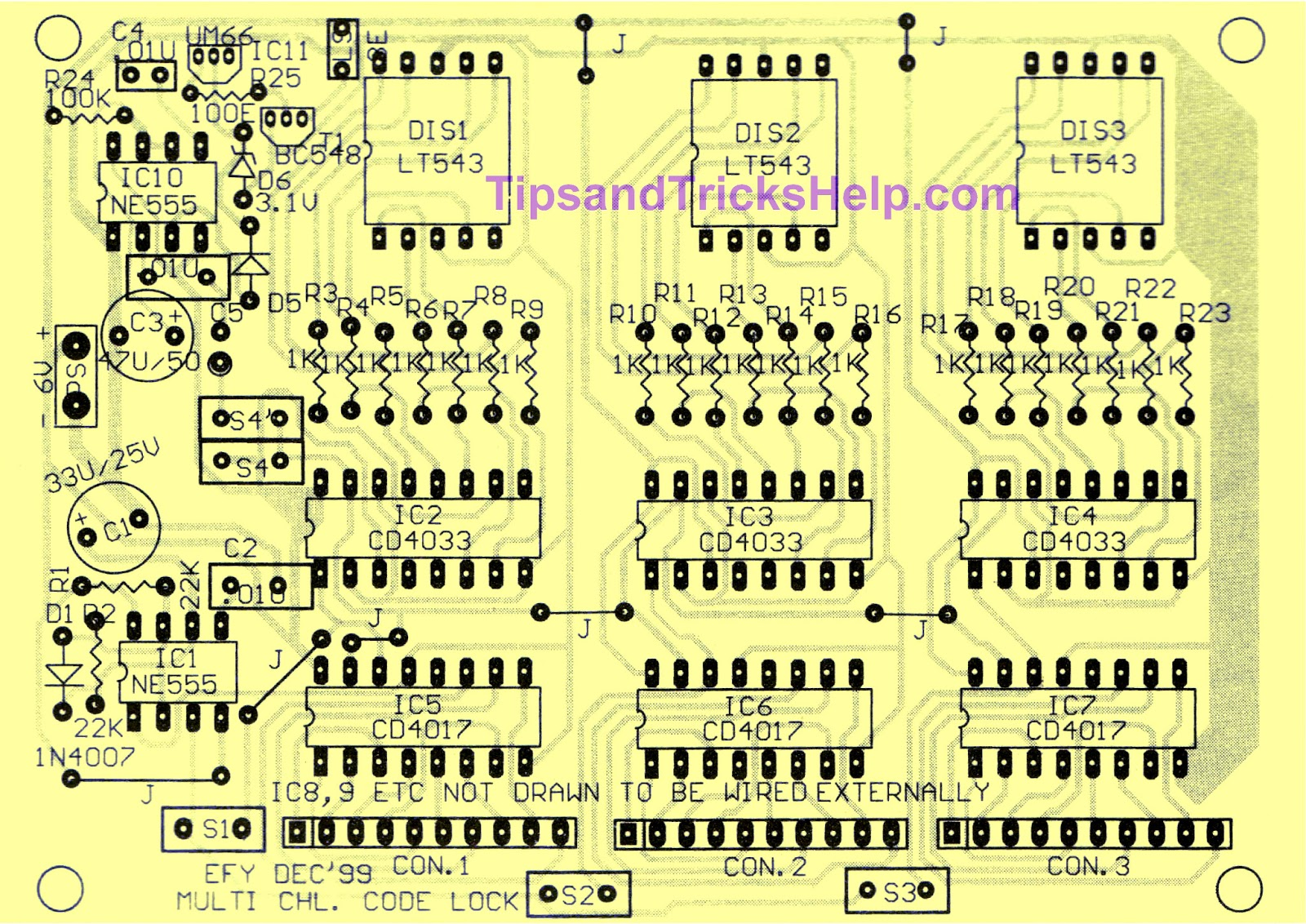 Tips And Tricks Help Simple Key Code Lock Switch Circuit Using Ic4017 Fig 3