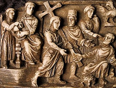 Jesus carrying his cross, 5th century casket panel