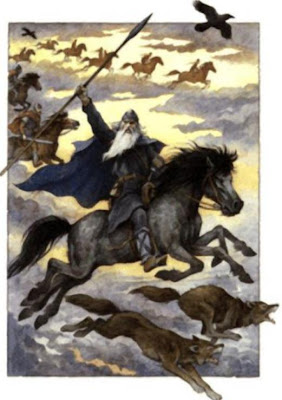 The Norse God Odin leading the Valkries on The Wild Hunt during the Yule