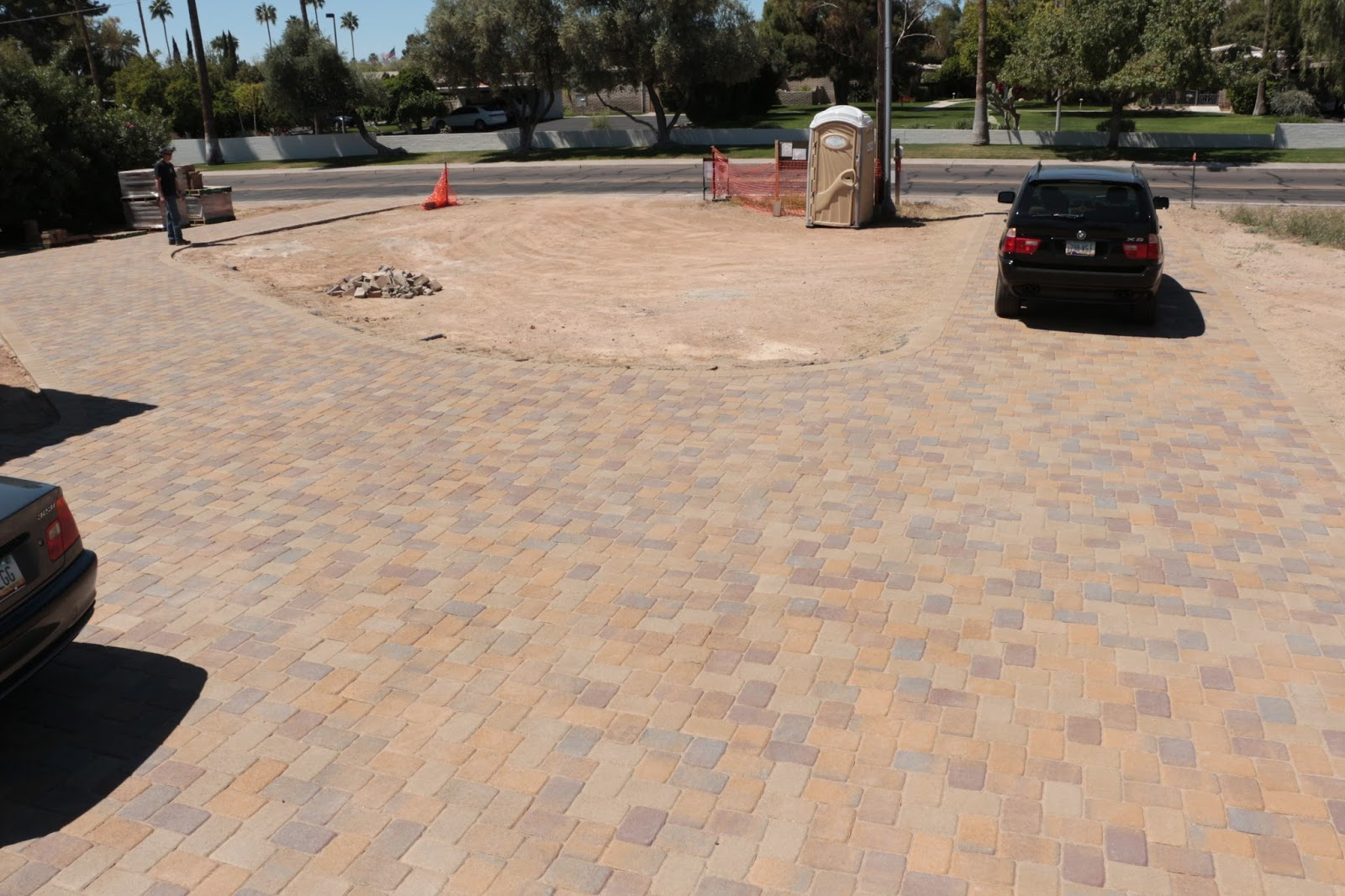 paver driveway, belgard paver driveway in toscana blend and mohave