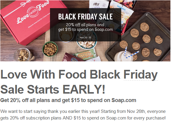 love with food black friday snack subscription deal bits and boxes. Black Bedroom Furniture Sets. Home Design Ideas