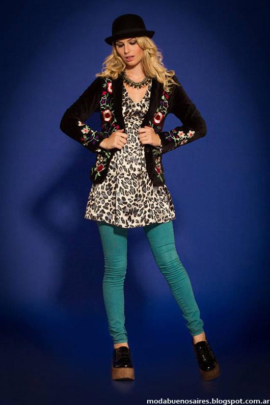 Sophya vestidos cortos animal print invierno 2014. Moda invierno 2014.