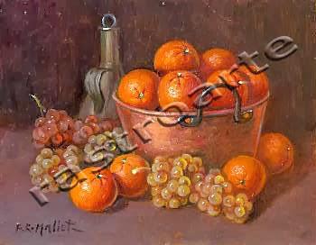 Bodegón con caldera de cobre, cacharra de aceite, naranjas y uvas