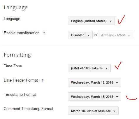setting bahasa dan format waktu