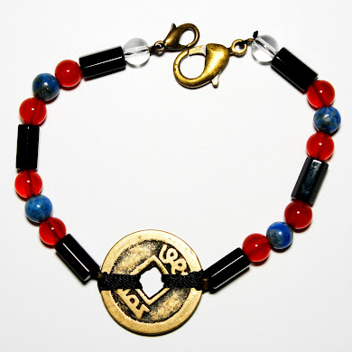 Onyx Bracelet with Coin