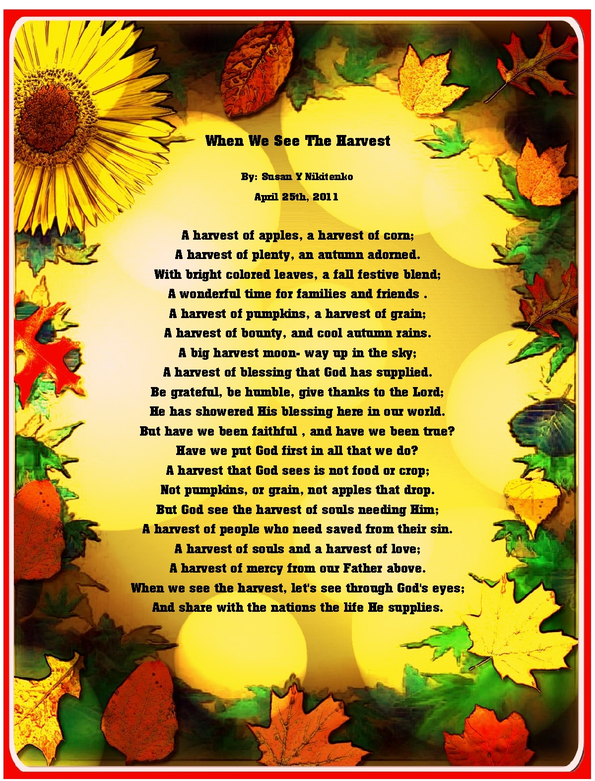 ... In My Treasure Box: Fall Harvest Poem Posters - updated September 21st