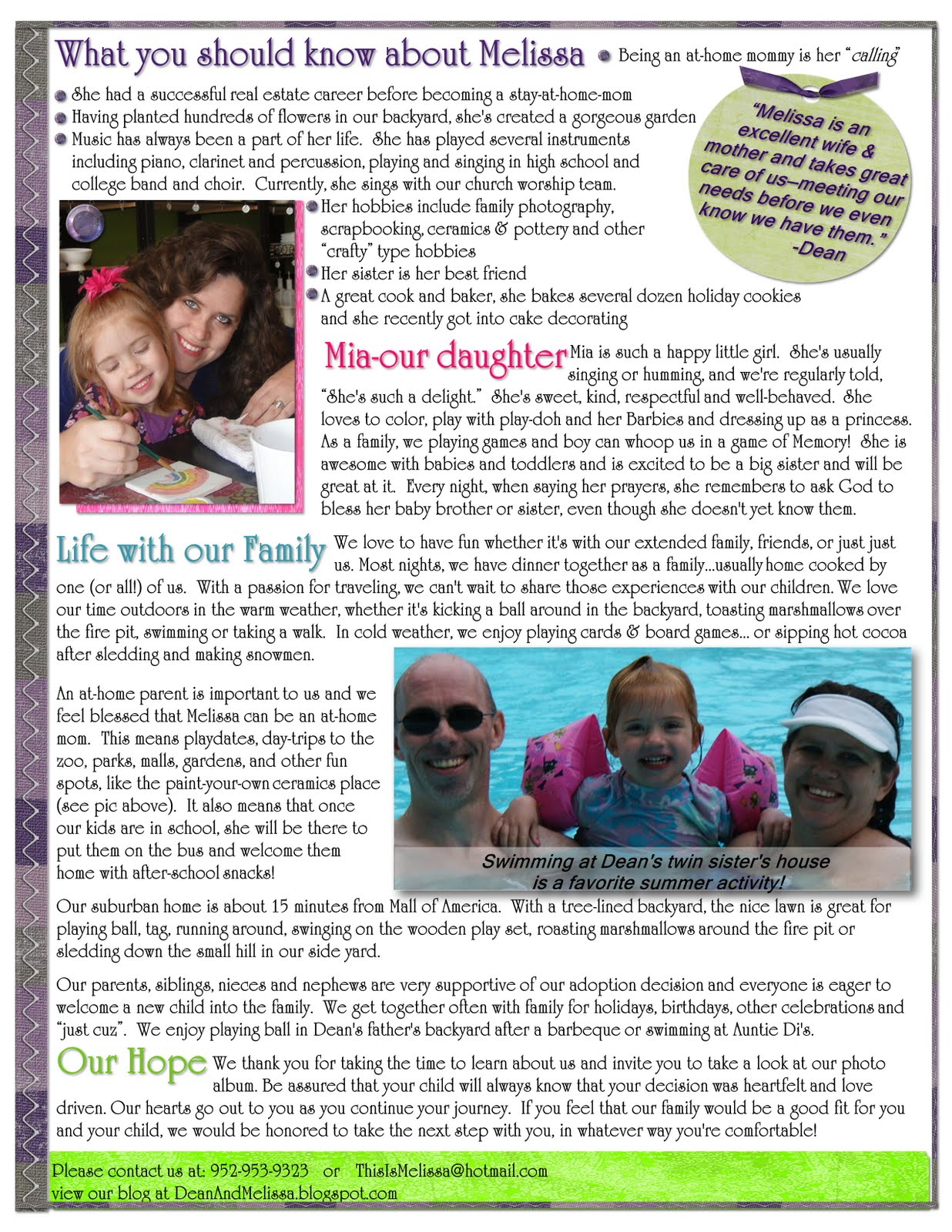 Examples Of Adoption Letters To Birth Mothers