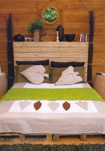 Paletes na decora o decora o e inven o - Cabeceros de cama hechos con palets ...