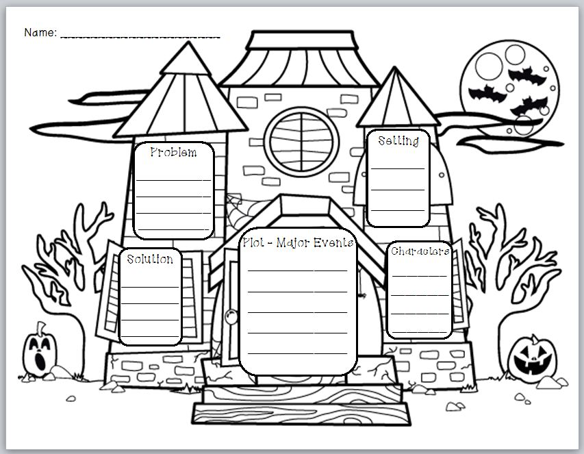 "... Freebies Too: ""Haunted House Story Elements"" Graphic Organizer"