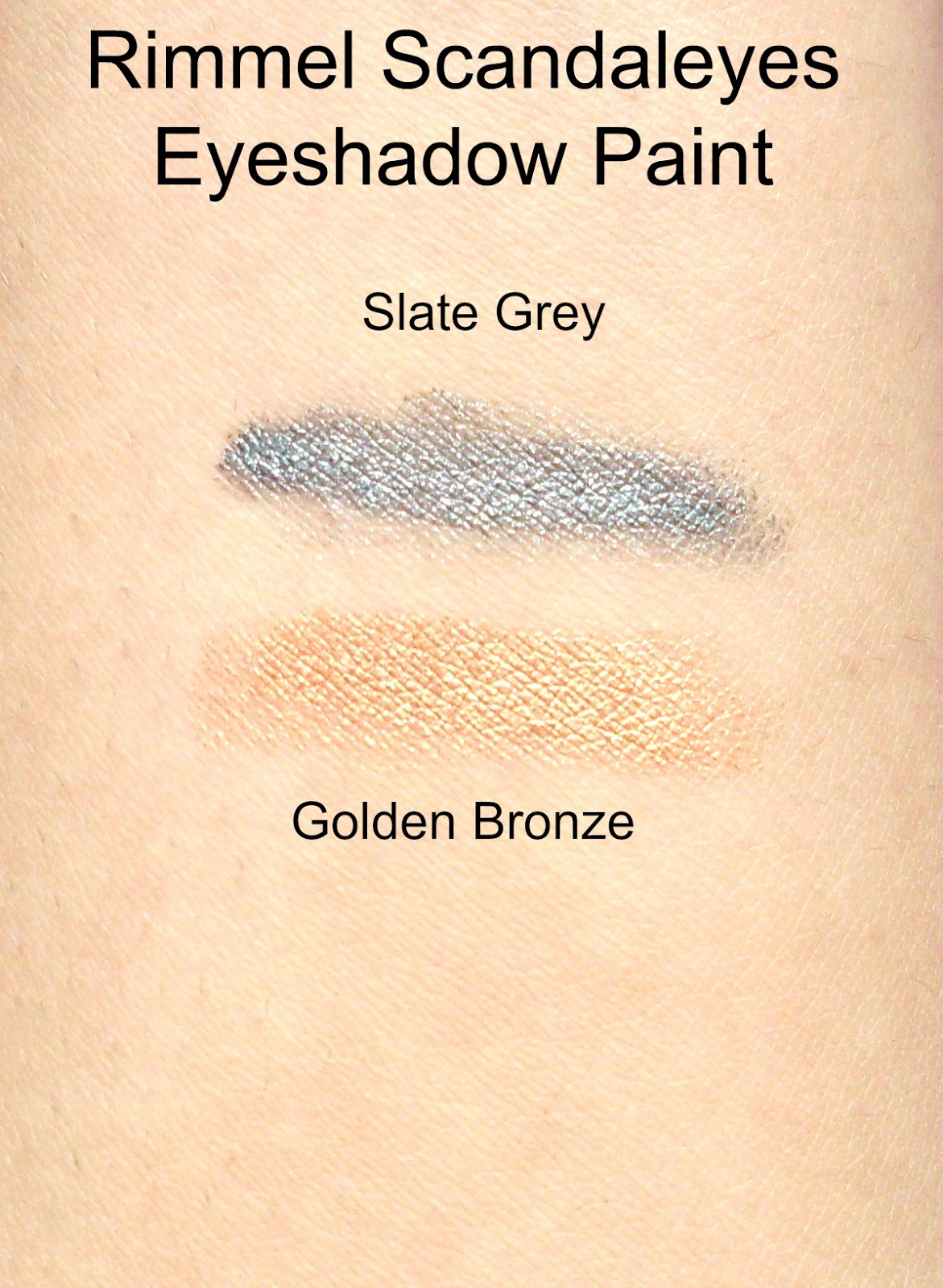 Rimmel Scandaleyes eyeshdaow swatches in golden bronze and slate grey
