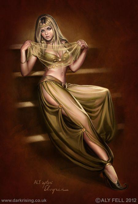 aly fell ilustrações mulheres sensuais fantasia sombria Garota do harém