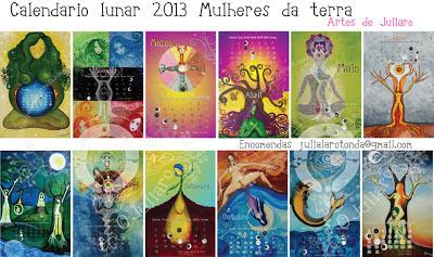 Paloma ilustrada calendario lunar 2013 mulheres da terra Fase lunar octubre 2016