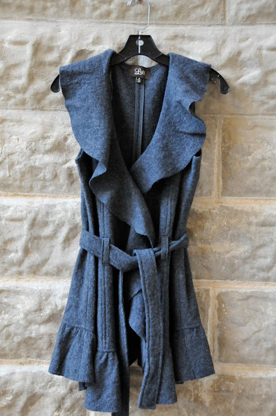 Charcoal Boiled Wool Vest  $104