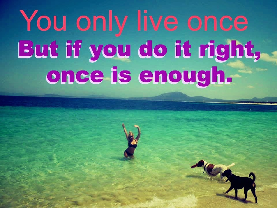 you only live once but if you do it right once is enough