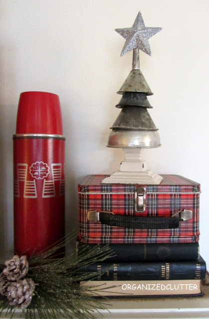 Oil funnel junk Christmas tree, by Organized Clutter featured at I Love That Junk