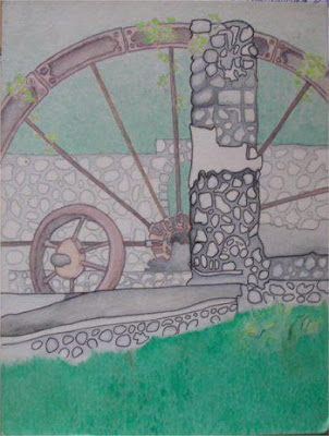 EARLY STAGE PAINTING OF THE WATER-WHEEL, PEMBROKE, SVG.