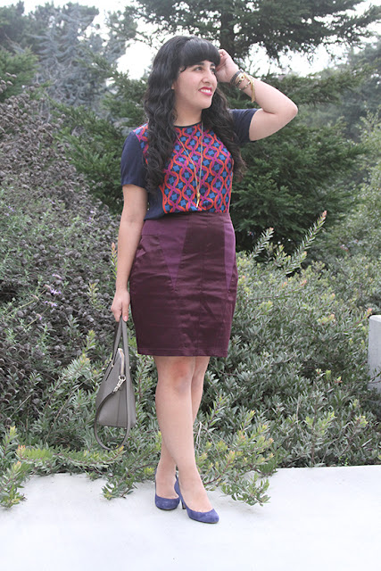 Trina Turk Patterned Blouse Jewel Tone Skirt Work Outfit