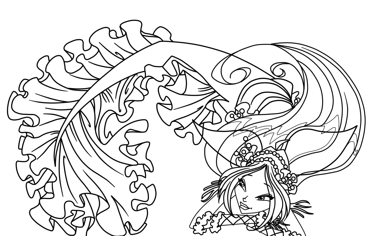 Winx Club Sirenix: Colorear: Flora, Bloom y Stella Sirenas