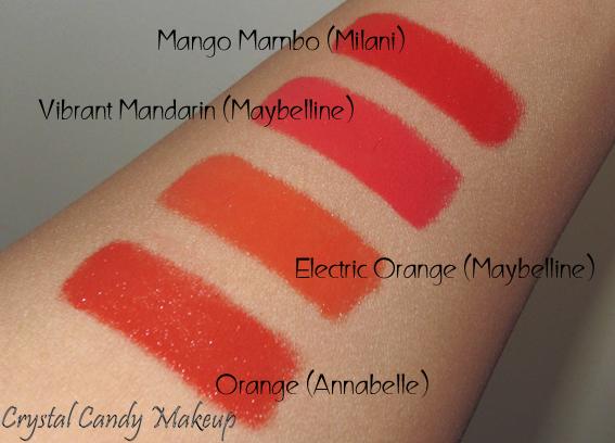 Rouge à lèvres Color Sensational 880 Electric Orange de Maybelline - Review - Swatch - Orange Annabelle - Vibrant Mandarin - Mango Mambo Milani