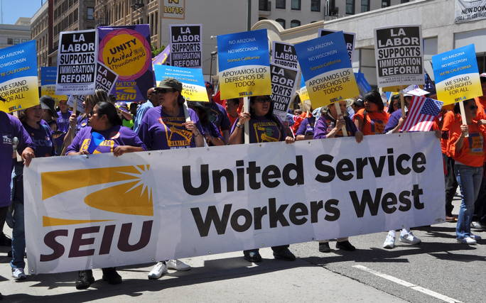 Communists seiu marches with