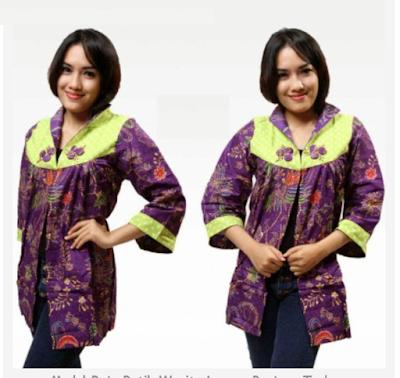 desain baju batik wanita lengan panjang