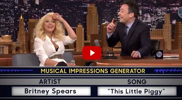 Christina Aguilera mimics rival Britney Spears