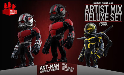 "Marvel's Ant-Man Artist Mix Figures by Touma & Hot Toys - Ant-Man, Yellowjacket & ""Black Out"" Variant Ant-Man Vinyl Figures"