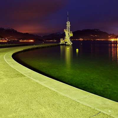 Image of Annecy lake at night