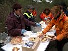 Col·laboradors repartint l'esmorzar