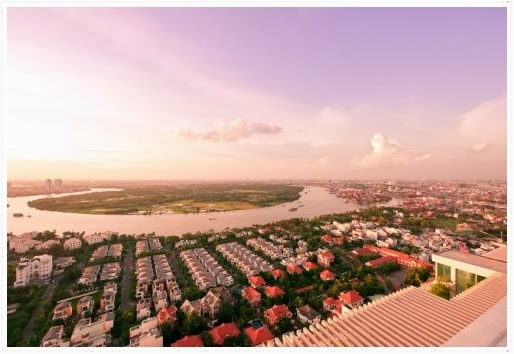 Saigon River view from The Vista An Phu apartment dist 2