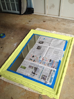 painted mirror frame side view - citron - thediybungalow.com