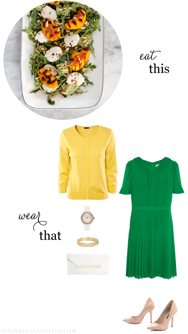 Sprinkles and Style || Eat This, Wear That: Grilled Peach Salad and Mint Pesto, Alice by Temperley Kyoto Dress, Steven Aftrdrk, BaubleBar Ivory Bangle, New Look Envelope Clutch, Toywatch Plasteramic Watch, H&M Cardigan