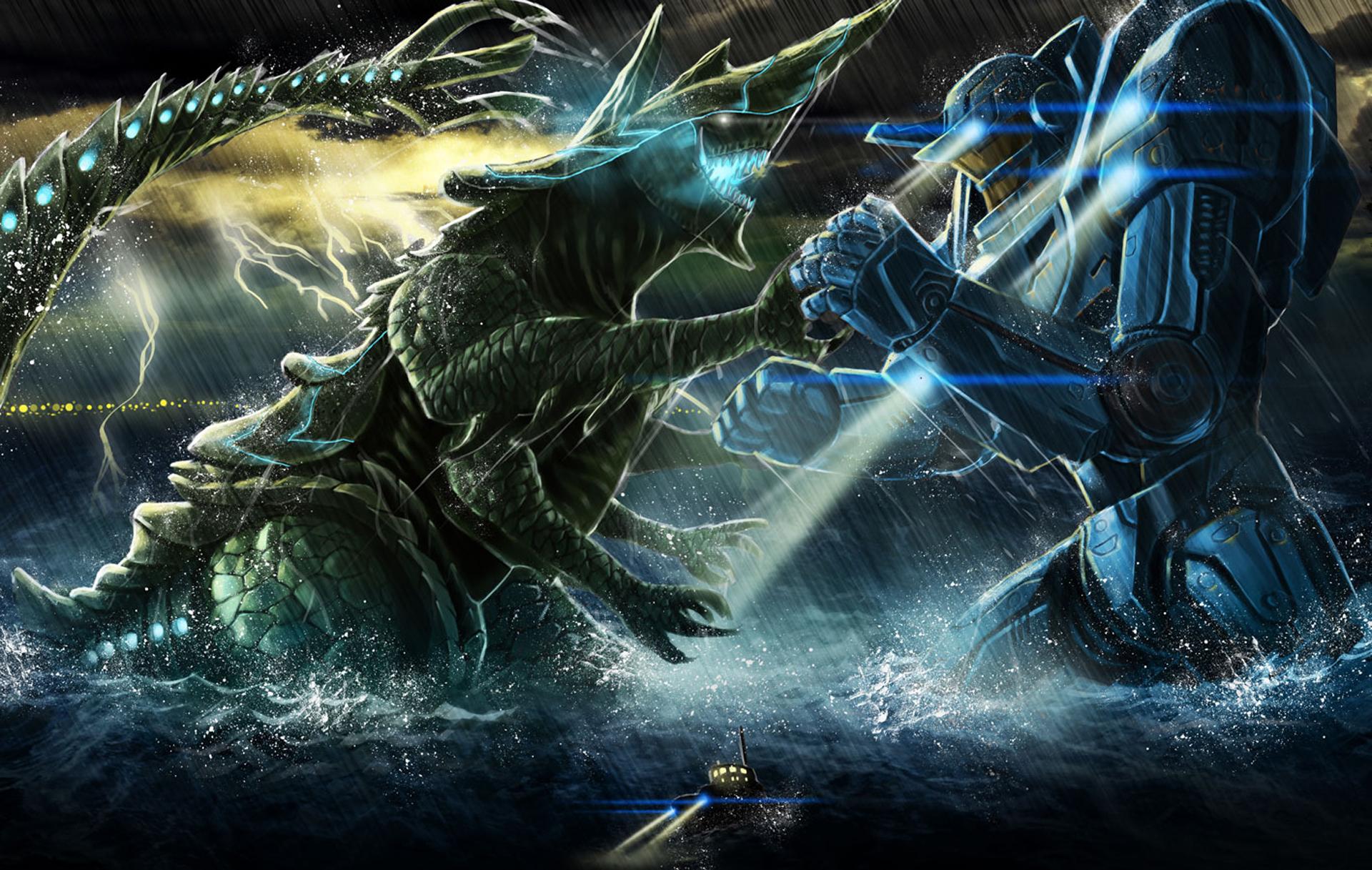 pacific rim movie jaeger vs kaiju b47 hd wallpaper