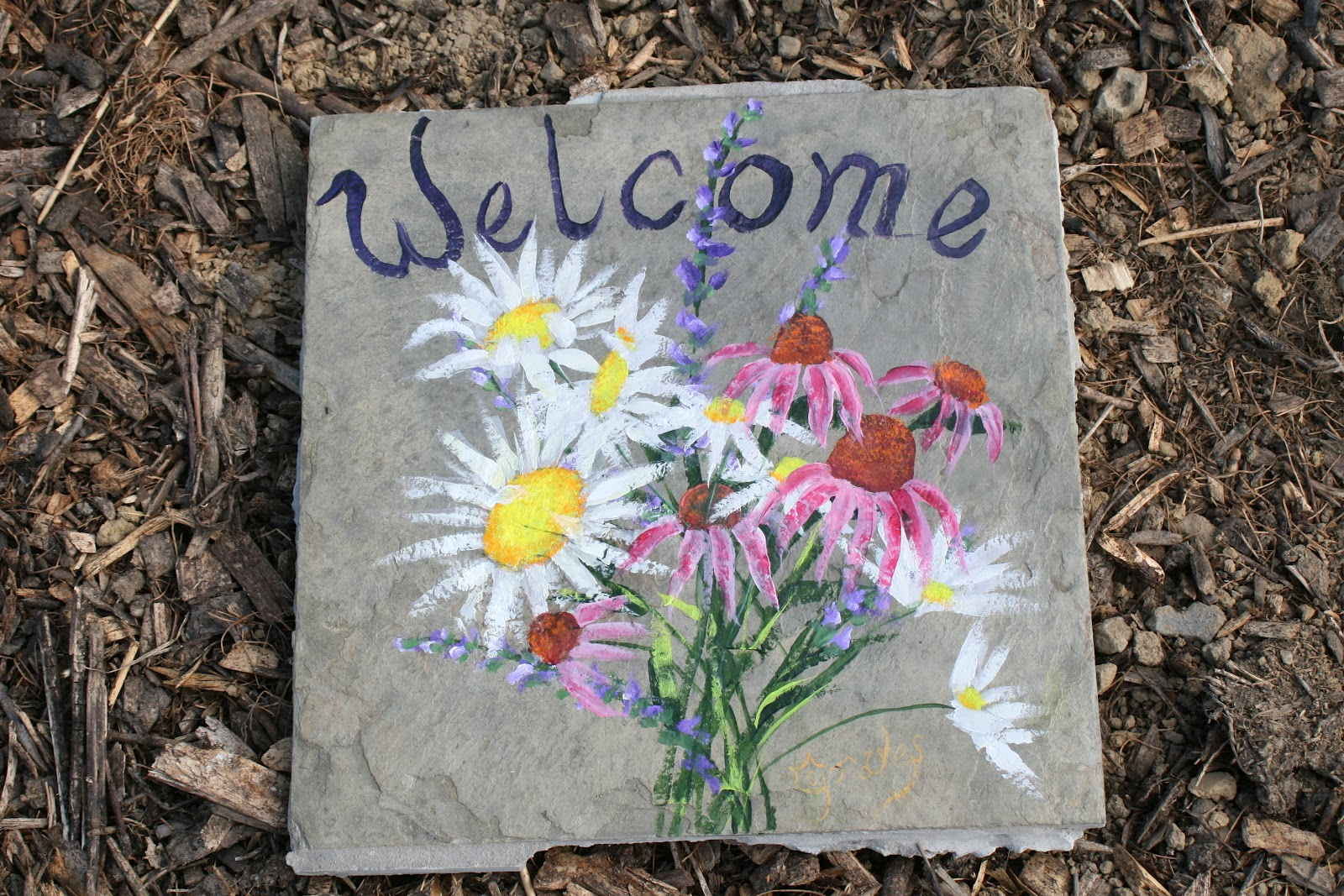 Fine nature art by sharon graves hand painted garden stones - Painting rocks for garden what kind of paint ...