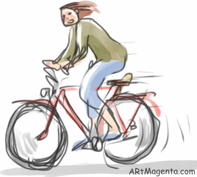 Dangerous cyclist is a gesture drawing by Artmagenta