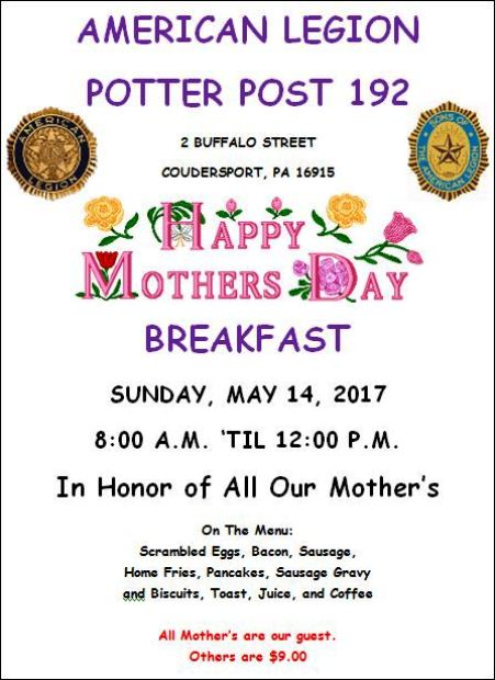 5-14 Mothers Day Breakfast, Coudersport American Legion Post 192