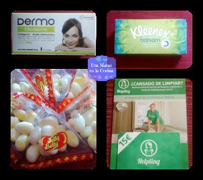 Ácido Hialurónico en minidosis para beber, caja de Kleenex Balsam muy suaves, caramelos sabor palomitas de Jelly Belly y tarjeta descuento para un servicio de limpieza de hogar.